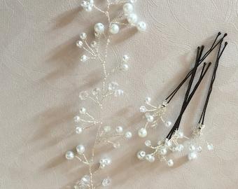 Bridal wedding pearl and crystal hair vine with matching hair pins