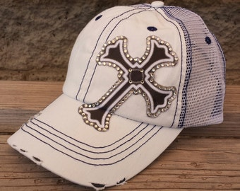 Cross hats- rhinestone cross mesh trucker caps- Many colors available, Scroll through pictures to see other colors!