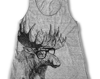 Moose graphic print Women's Racer back Tank Top