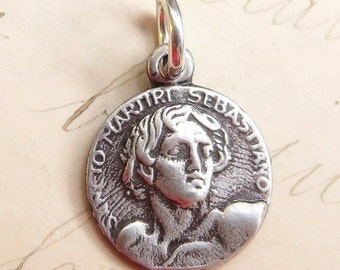 St sebastian patron of athletes handmade pendant on chain st sebastian small medal sterling silver antique replica patron of athletes soldiers aloadofball Images