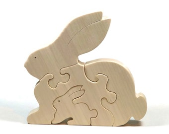 Wooden Rabbit Puzzle, Wooden Rabbit Toy, Rabbit Puzzle, Rabbit Toy, Personalized Toy, Personalized Puzzle, Montessori Toy