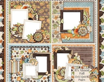 On Sale 50% It's Almost Fall Digitla Scrapbooking Kit Premade 12x12 Quick Pages