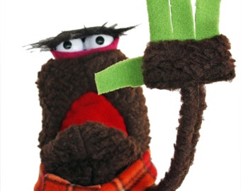 M'nonk monster Hand Puppet with adjustable eye-brows