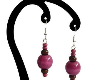 Pink and dark brown wood earrings