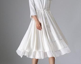 wedding dress, white linen dress, womens dresses, tea length dress, ivory dress, tiered dress, midi dress, drawstring dress, gift  (960)