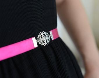 Dainty belt, Pink belt, Fuchsia Belt, Silver belt, Dress belt, Bridesmaids Accessories, waist belt, skinny Belt, Wedding belt, Jeweled belt