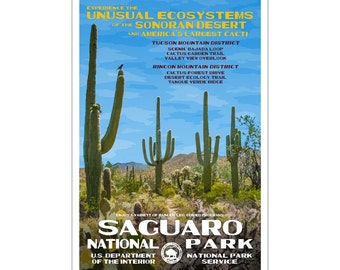 "Saguaro National Park WPA style poster. 13"" x 19"" Original artwork, signed by the artist. Free Shipping !"