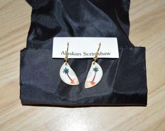 Alaskan Scrimshaw Earrings with Palm Trees on them