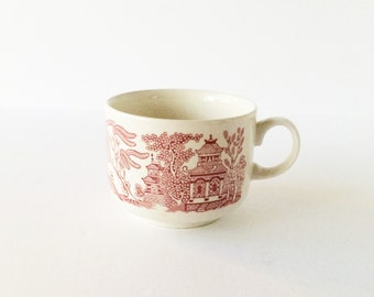Vintage Breakfast Cup Pink Willow by Churchill England Willow Rosa, Large Pink Willow Cup, Shabby Cottage English Ironstone
