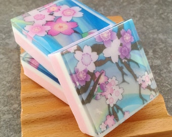 Graphic Art Soap Cherry Blossom - Set of 3 Guest Size Square Soaps