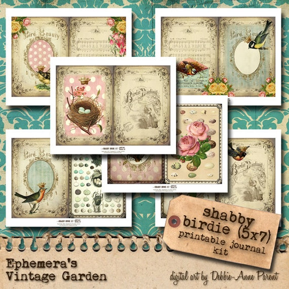 Shabby Birdie Printable Journal Kit