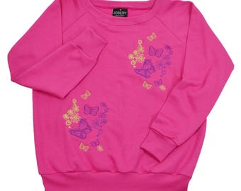 Women's sweatshirt (J101) with butterfly and flower design (22J/02), wide neckline style.    Individually made in England.