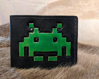 Hand Tooled Leather Space Invaders Wallet