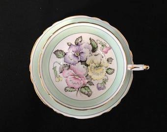 Paragon pansy flower vintage tea cup
