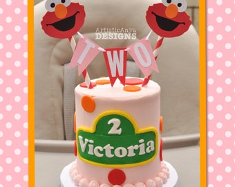 Elmo Birthday Age Cake Bunting Topper - Pink and Red - Smash Cake - Sesame Street Party Decorations