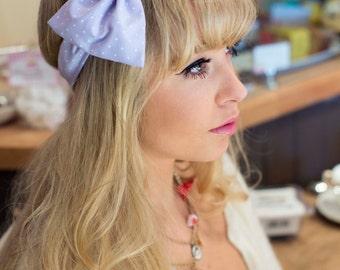 Pastel Lilac Bow Headband, Polka Dot Dolly Bow, Bow Headband, Rockabilly Pin Up Girl Headband, Cute Kawaii Lolita Headband