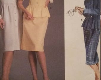 UNCUT and FF Pattern Pieces Vintage Vogue 1862 Sewing Pattern Size 14 Albert Nipon Dress, Top and Skirt