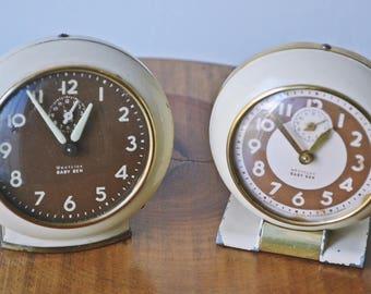 Two Baby Ben Clocks, Westclox Baby Ben, Vintage Alarm Clocks