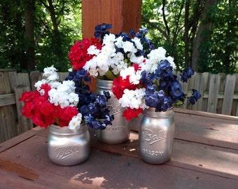 4th of July Mason Jars, Americana Decor, Painted Mason Jars, 4th of July Decorations, Mason Jar Decor, 4th of July, 4th of July Decor