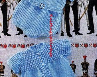 Baby Knitting Pattern pdf 2 Baby Romper Suits Ribbed and Patterned