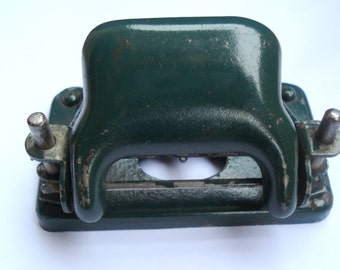 Antique Hole Paper Punch /Green Two Hole Paper Puncher/Retro Rustic Office Equipment /Office collectibles/1950s