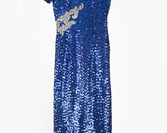Vintage 80s Sequin Dress - Blue and Silver Sequin Dress - Prom Dress with Arms Frills - 8 Size UK Women's