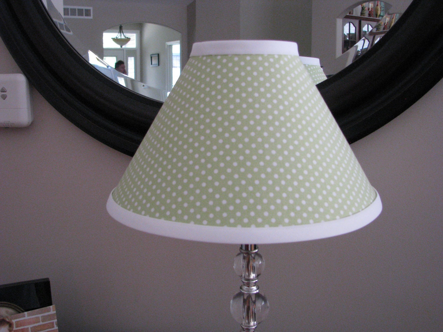Green and white polka dot lamp shade aloadofball Choice Image