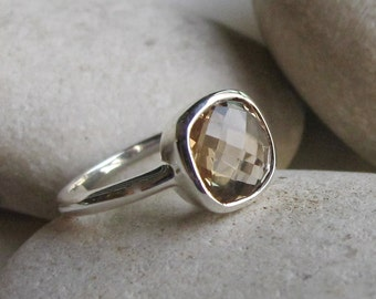 Simple Stack Citrine Ring- November Birthstone Ring- Minimal Gemstone Ring- Gifts For Her- Faceted Bezel Ring- Sterling Silver Ring