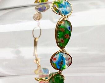 Millefiore Gold Bracelet