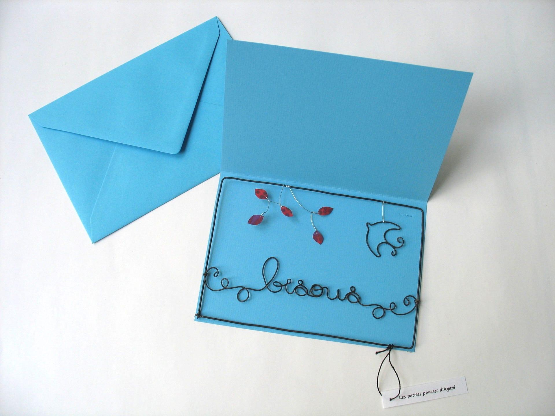 Carte postale en fil de fer carte à message carte avec