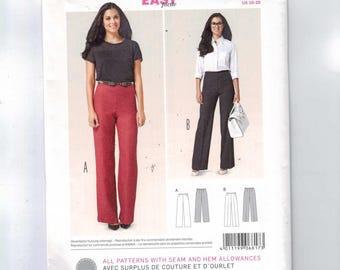 Misses Sewing Pattern Burda 6817 Misses Easy Straight Leg Pants Flat Front Size 10 12 14 16 18 20 UNCUT