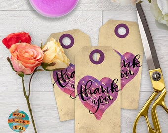 Thank you tags, vintage style, customizable, wedding, anniversary, engagment, printable, digital file