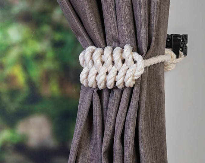 Cotton Rope Knot Nautical Curtain Tie-Backs/ Shabby Chic Ivory White Curtain hold-Backs / Nursery Window Treatment / Rope Ties/Boho/ Vintage