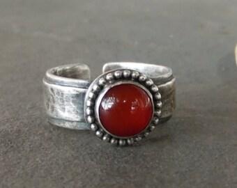 Reduced Price-Rustic-Carnelian-Gemstone-Sterling Silver-Adjustable OOAK-Artisan-Ring.
