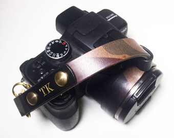 Leather Camouflage Camera Wrist Strap Italian Leather Personalized Custom Engraving Name Monogram Avaloncraft