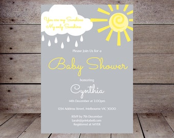 DIY You are my Sunshine Custom Invitation, Baby Shower Invitation, Bridal Shower, Birthday Party Invitations, printabell TLC112