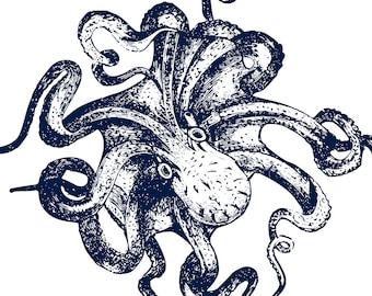 Octopus, Nautical Decor, Octopus Art, Bathroom Decor, Beach Decor, Octopus Print, Octopus Decor