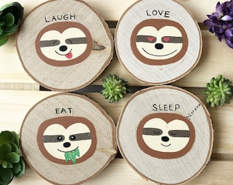 Sloth Coasters, Birch Wood, Laugh, Love, Eat, Sleep, Gift for Sloth Lovers, Rustic Coasters, Fun Sloth Gifts, Cute Sloth Coasters