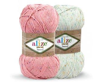 Cotton Gold Tweed Alize Design High Quality Crochet yarn Yarn for knitting Summer yarn Hand knit yarn Cotton-Acrylic yarn Soft yarn
