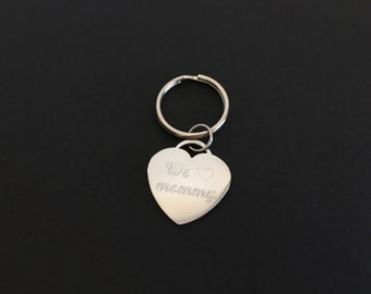 Personalized Heart Key Ring. Stainless Steel Key Chain. Engraved Key Ring. Friendship Gift. Graduation. Bridesmaid Gift. Birthday Gift.