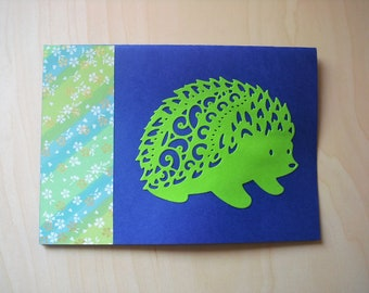 Card hedgehog blue / green all occasions