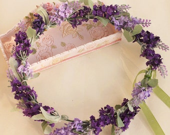 purple flower crown lavender flower hair wreath floral crown bridal head piece floral crown wedding accessories Bridal Floral hair wreath