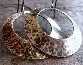 Sterling Silver Orbit Earrings - Hammered Sterling Silver Large Circle Earrings on Handmade Sterling Silver Earwires