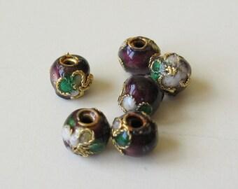 Cloissone brass enamel beads 6mm, 6 beads