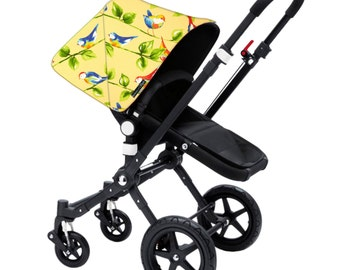 "Bugaboo Cameleon, Bee, Donkey, Frog Custom canopy hood cover ""yellow birds"" by Stroll N Style"