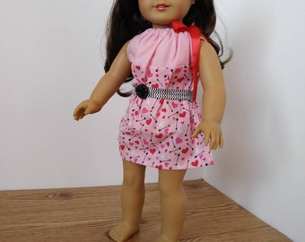 18 Inch Doll Drawstring Pillowcase Dress-Pink Hearts