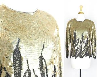 Vintage Sequin Blouse Gold Top Oleg Cassini Small Beaded Black