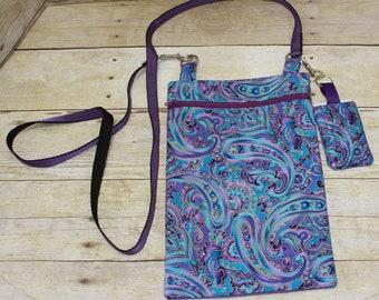 Crossbody Bag, Hipster Bag, Tablet Bag, eReader Bag, Key Fob, Key Chain, Paisley Print, Purple, Turquoise, Lavender, Corduroy