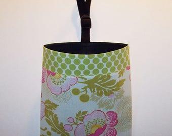 Car Litter Bag // Auto Litter Bag // Auto Trash Bag // Amy Butler Fresh Poppies and Full Moon Polka Dot
