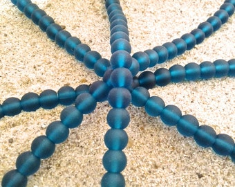 Sea Glass Beads -  Frosted Teal -  6mm Round Center Drilled Cultured Sea Glass Beads - 1 Strand of Approx. 35 beads